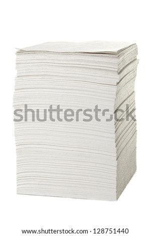 Stack of blank papers on white background - stock photo