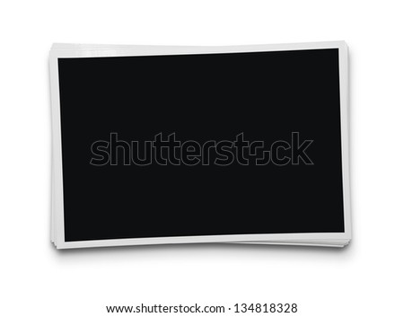 Stack of blank photographs isolated on white background with clipping path for inside - stock photo