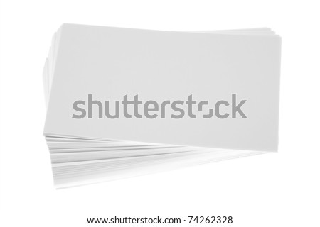 Stack of blank white business cards - stock photo