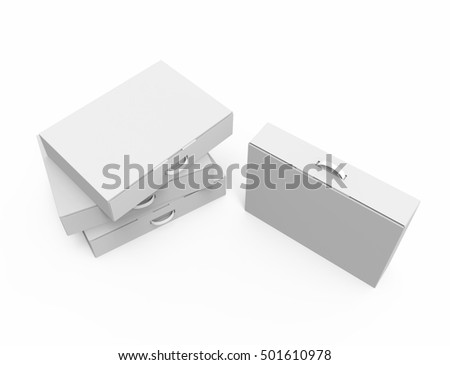 Stack of Blank White Package Boxes With Handle. 3D Illustration.