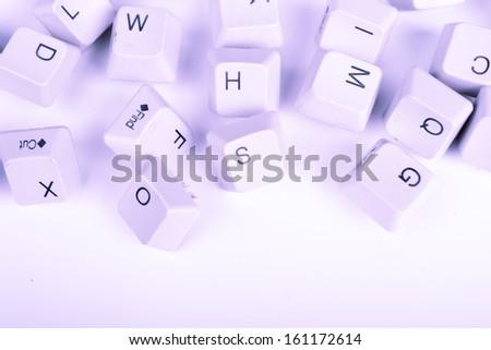 Stack of blue Computer Keyboard keys - stock photo