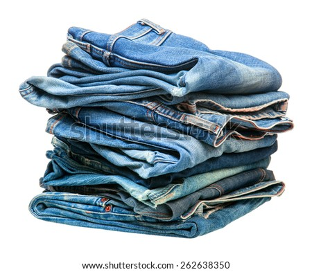 stack of blue denim clothes - stock photo