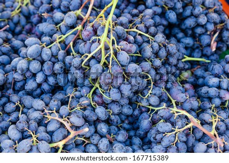 Stack of blue grapes for sale at local farmers market.