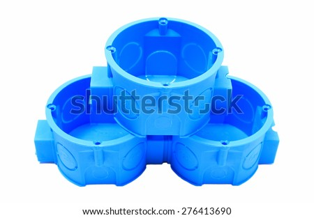 Stack Blue Plastic Electrical Boxes On Stock Photo (Royalty Free ...