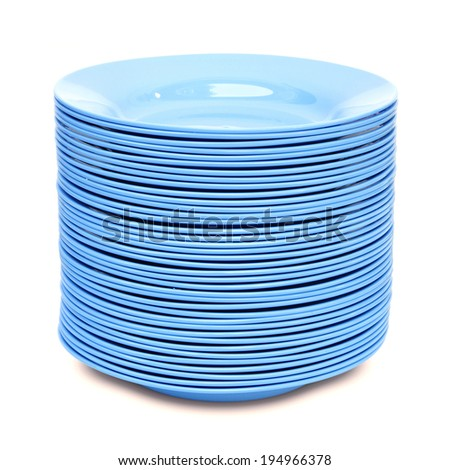 stack of blue plate isolated on white background - stock photo