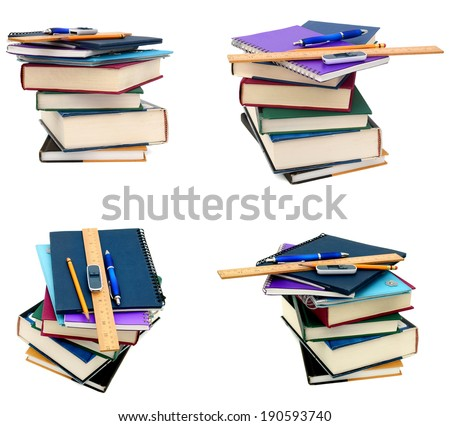 Stack of books and back to school - stock photo