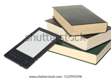 stack of books and ebook reader device  - stock photo