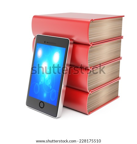 Stack of books and smartphone isolated on white background. 3d rendering image - stock photo