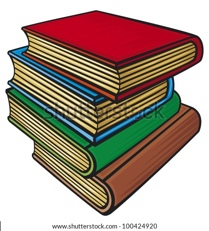 Stack of books (books stacked) - stock photo