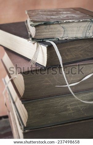 stack of books, close up - stock photo