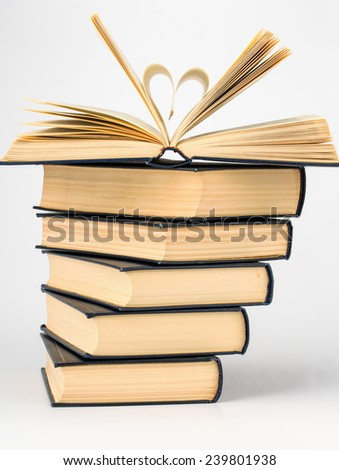 stack of books close up for background - stock photo