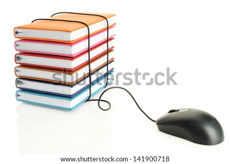 Stack of books connecting to a computer mouse