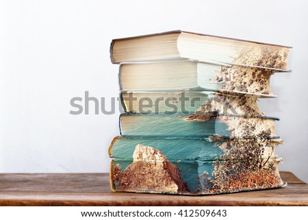 Stack of books. Double exposure effect.
