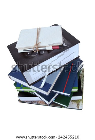 Stack of books. education concept  isolated on white background. This has clipping path. - stock photo