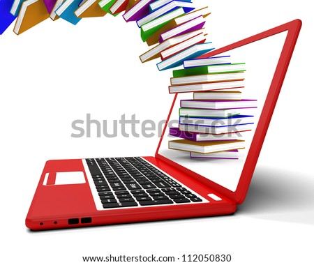 Stack Of Books Flying From Computer Showing Online Learning