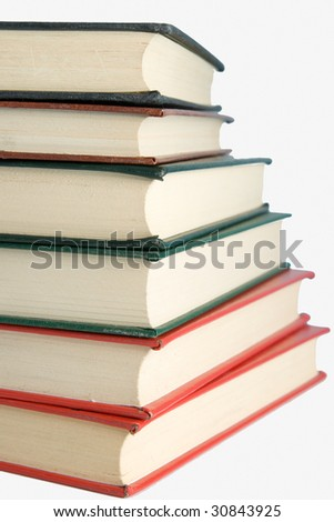 Stack of books in isolated white background - stock photo
