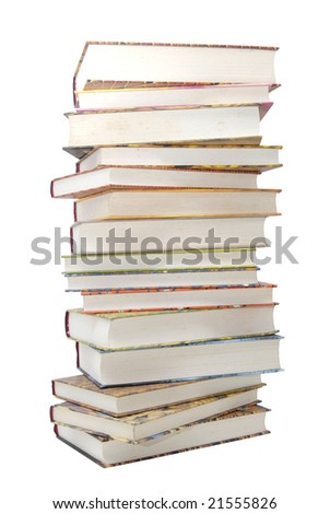 Stack of books isolated in white
