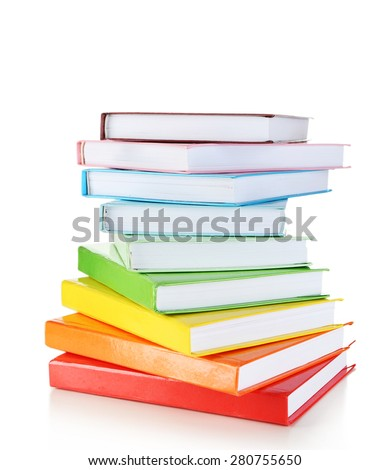 Stack of books isolated on white - stock photo