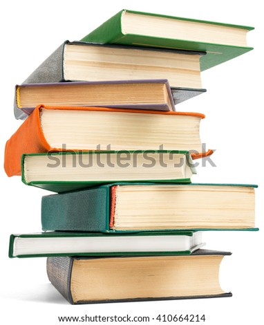 Stack of books. Isolated on white background - stock photo