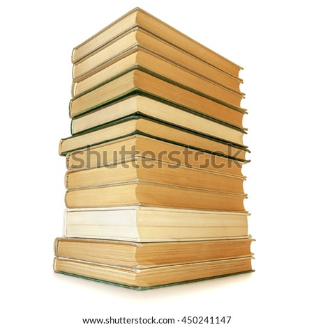 Stack of books isolated on white on white background.