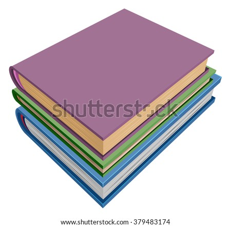 Stack of books isometric projection. Isolated on white illustration
