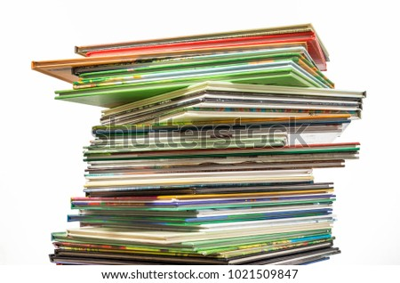 Stack of books on isolated white background