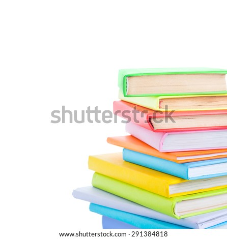 stack of books on the white background  - stock photo