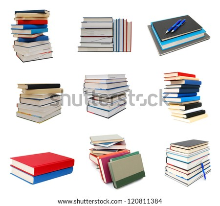 Stack of books on white - stock photo