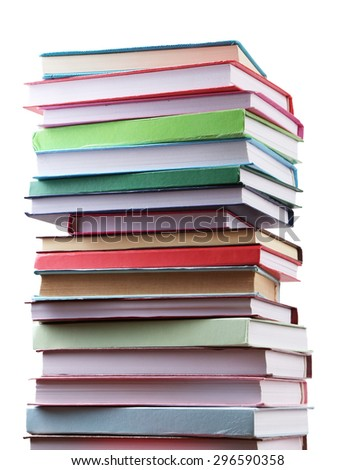 Stack of books on white background - stock photo