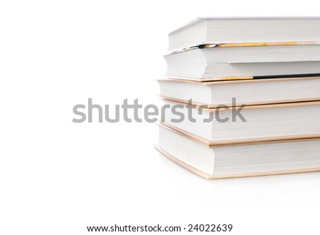 Stack of books with blank space to your text
