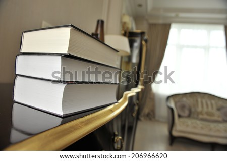 stack of books with classical literature. - stock photo