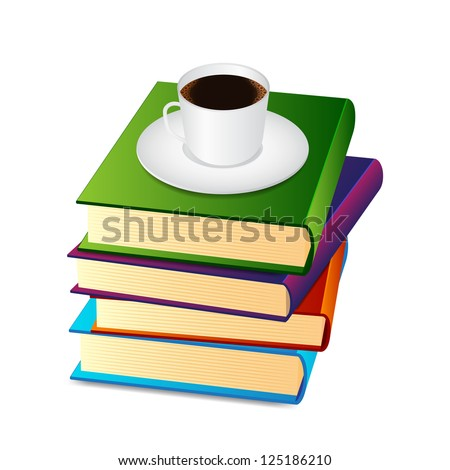 Stack of books with coffee cup. Raster version of the loaded vector