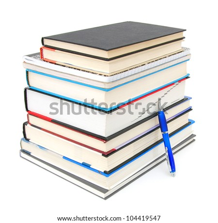 Stack of books with pen isolated on white background without shadow