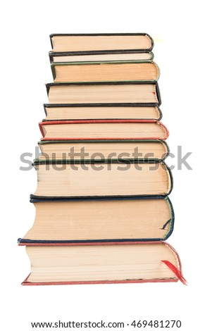 Stack of books with white background
