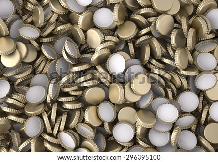 stack of bottle caps background , 3d render - stock photo