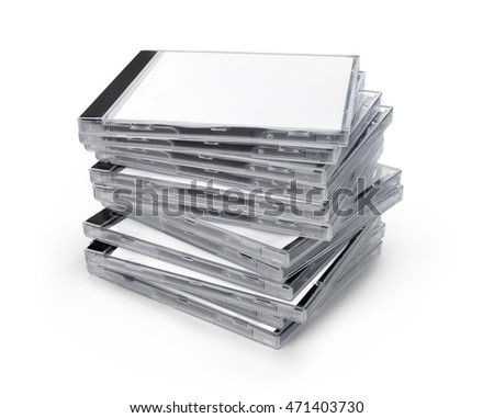 Stack of boxes from disks isolated on white background