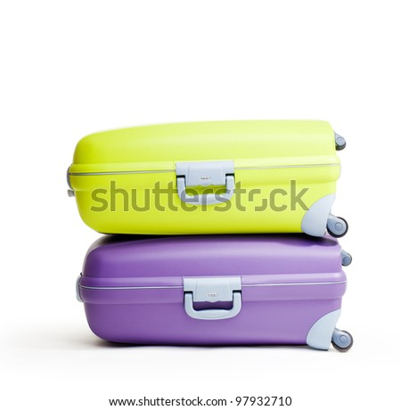 Stack of briefcases on white background, isolated - stock photo