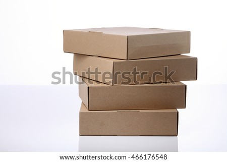 stack of brown box on the white background