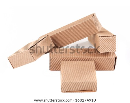 Stack of brown gift boxes. Isolated on a white background.