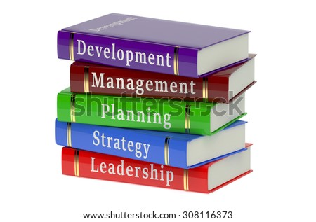 Stack of business books isolated on white background