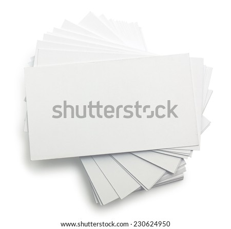 Stack of business cards isolates on white - stock photo