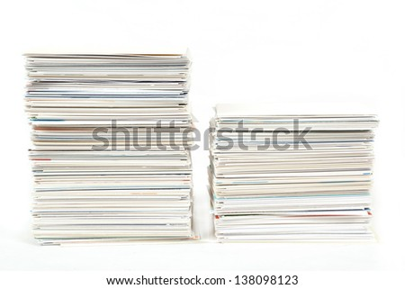 stack of business cards on the table isolated on white
