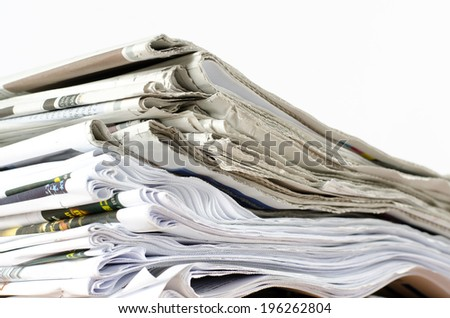 Stack of business newspaper - stock photo