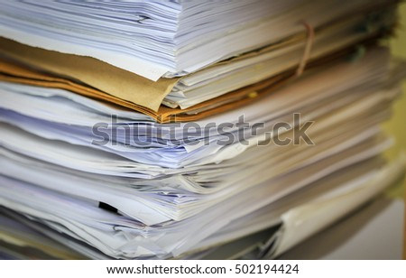 Stack of business paper file