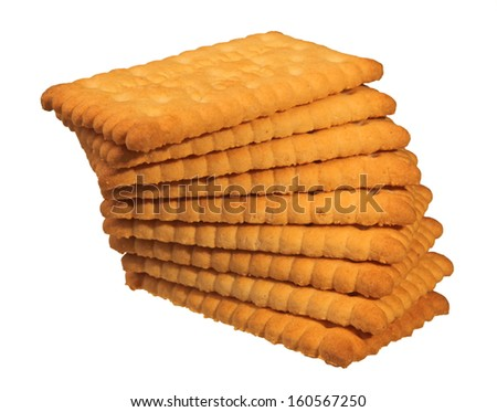 stack of butter biscuits isolated in white - stock photo