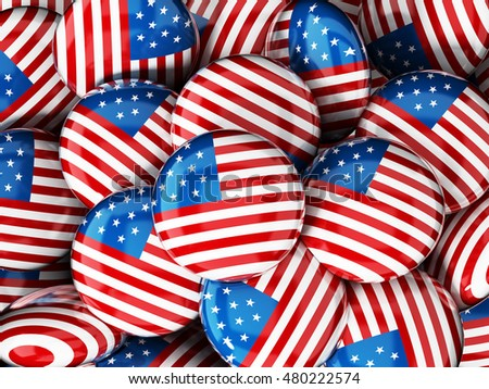 Stack of buttons with American flag. 3D illustration.