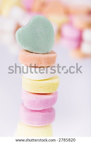 Stack of candy hearts, add your own message - stock photo