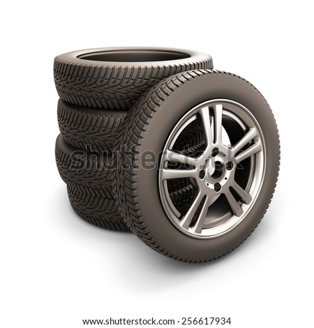 Stack of car tires and car wheel isolated on white background. 3d illustration. - stock photo