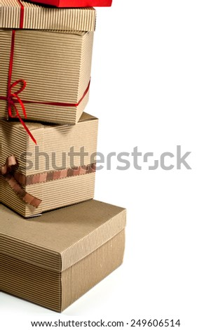 stack of cardboard boxes closeup on white background - stock photo