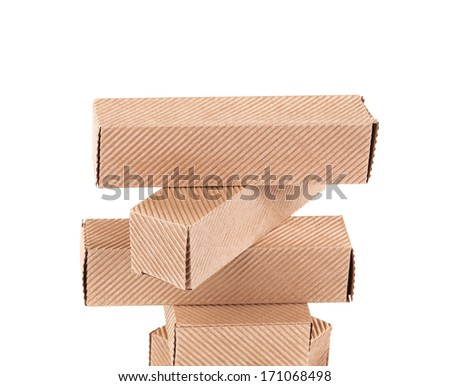 Stack of cardboard boxes.  Isolated on white background - stock photo